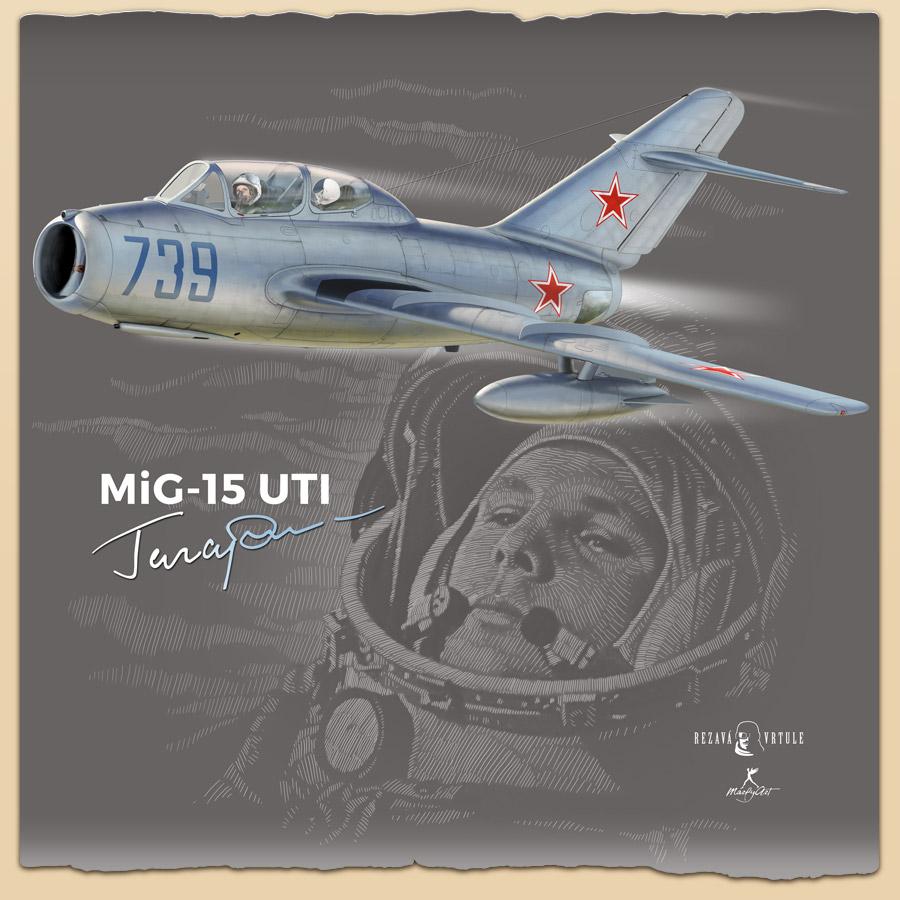 Ilustração com Gagarin e seu MiG-15UTI 739.